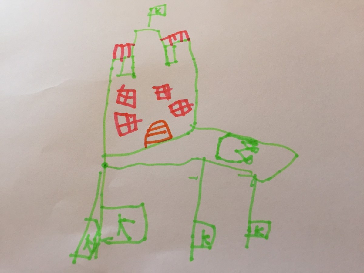 child drawing architectural doodles