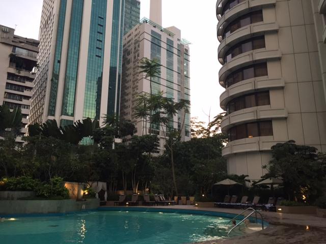 Swimming in the pool at the Shangri-La Kuala Lumpur