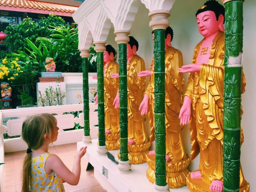 Copying out the moves at Kek Lok Si, Penang