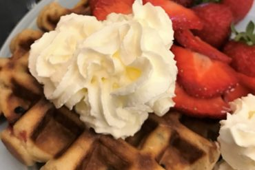 Wimbledon inspired waffles - Strawberry and Cream Waffles - copyright: www.globalmousetravels.com